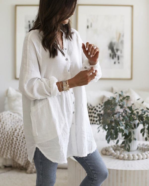 Casual Cotton Shift Plain Shirts & Tops