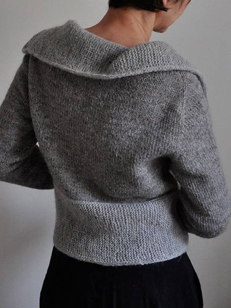 Plus Size Casual Solid Shawl Collar Sweater
