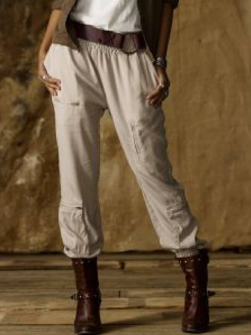 Plus Size Solid Casual Cotton-Blend Pants