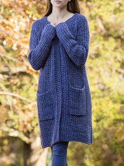 Blue Long Sleeve Plain Knitted Outerwear