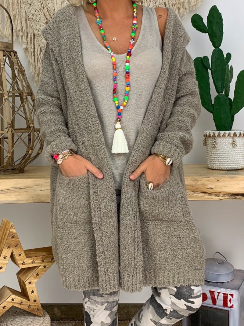 Casual Pockets Hoodie Shift Plus Size Outerwear