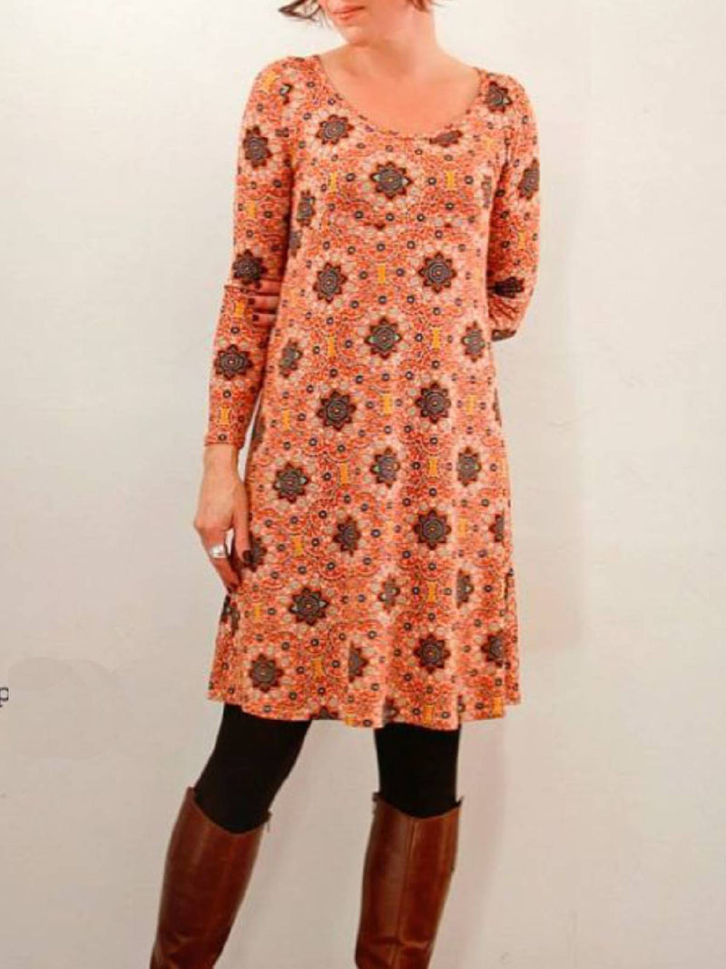 Orange Casual Crew Neck Floral-Print Long Sleeve Dresses