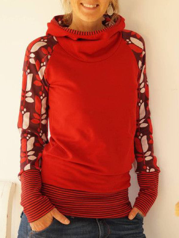 Red Floral-Print Long Sleeve Casual Cotton-Blend Shirts & Tops