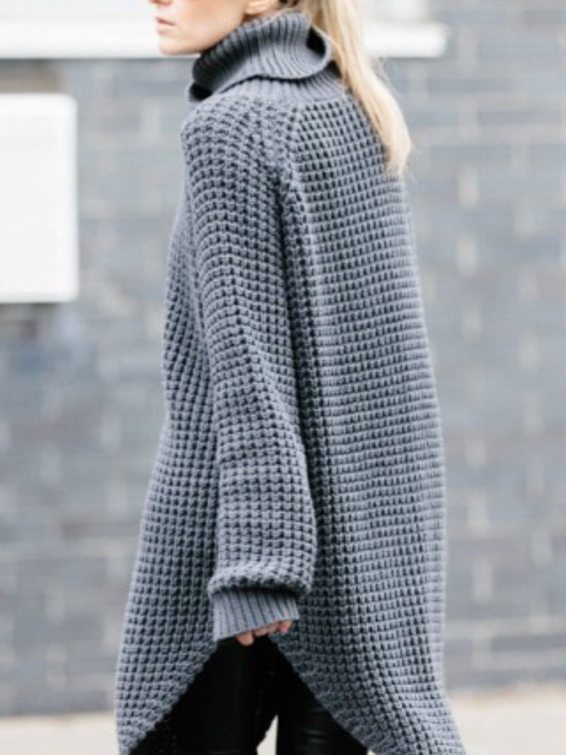 Casual Knitted Solid Shift Sweater