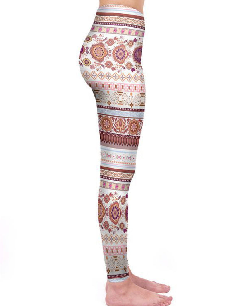 Multicolor Casual Tribal Floral-Print Pants