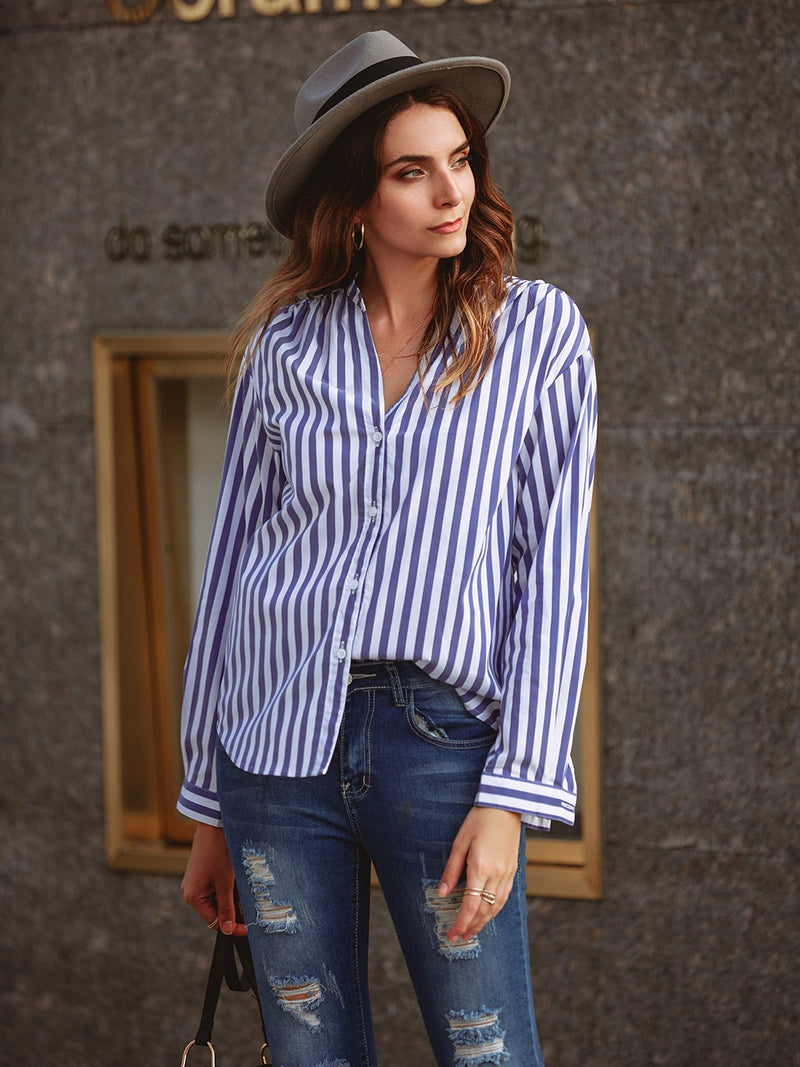 Women Striped Buttoned Neck Long Sleeve Shirts & Tops