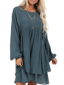 Plus Size Casual Long Sleeve Crew Neck Solid Dresses