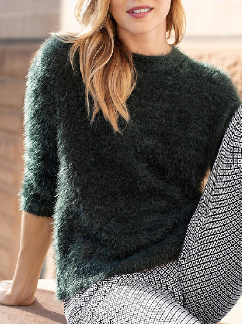 Casual Solid Round Neck Sweater