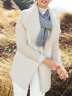 Plus Size Casual Solid Shawl Collar Outerwear