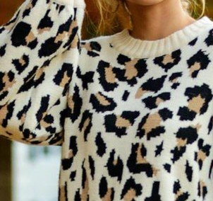 Leopard Shift Floral-Print Casual Sweater