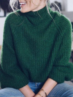 Cotton-Blend Casual Turtleneck Long Sleeve Sweater