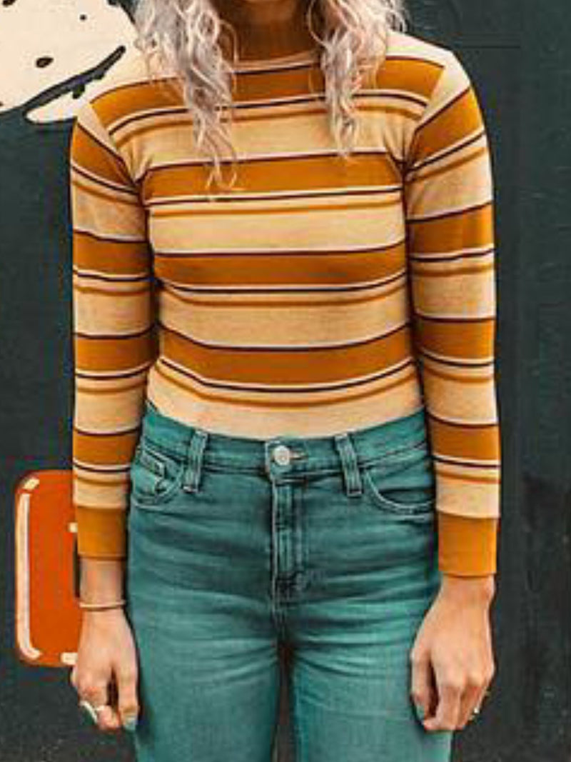 Casual Striped Sheath Shirts & Tops