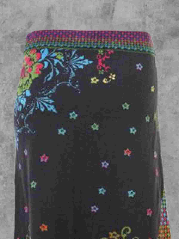 Multicolor Cotton-Blend Casual Floral-Print Skirts
