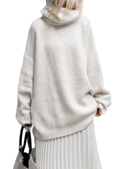 Plain Round Neck Knitted Casual Sweater