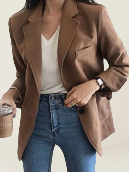 Brown Long Sleeve Plain Shift Shirts & Tops