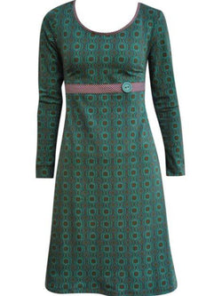 Green Cotton-Blend Casual Dresses