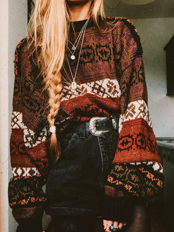 Boho Floral Knitted Shift Sweater
