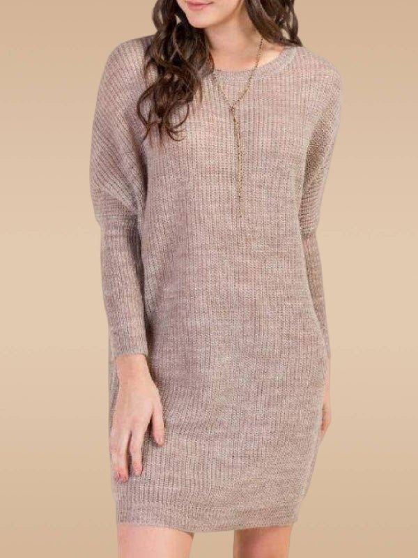 Light Khaki Solid Crew Neck Casual Knitted Dresses