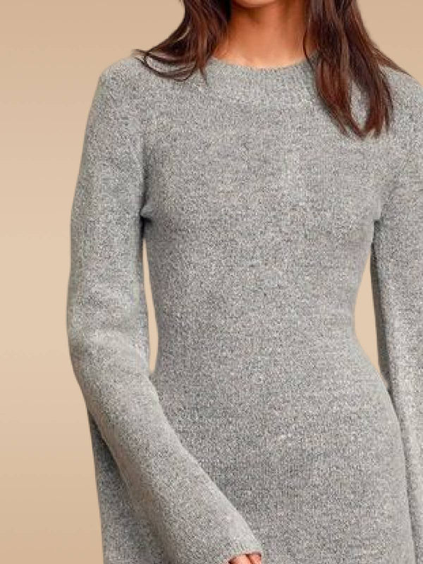 Gray Solid Crew Neck Long Sleeve Knitted Dresses