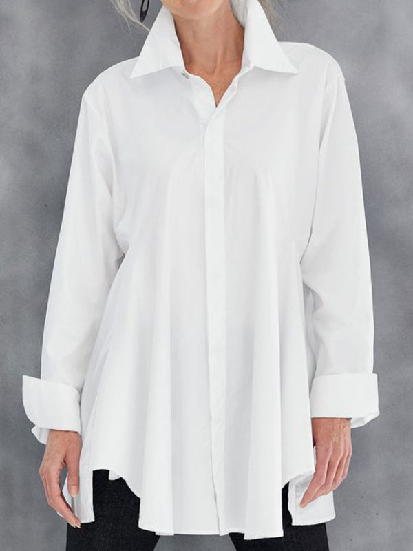 White Shawl Collar Casual Plain Shirts & Tops