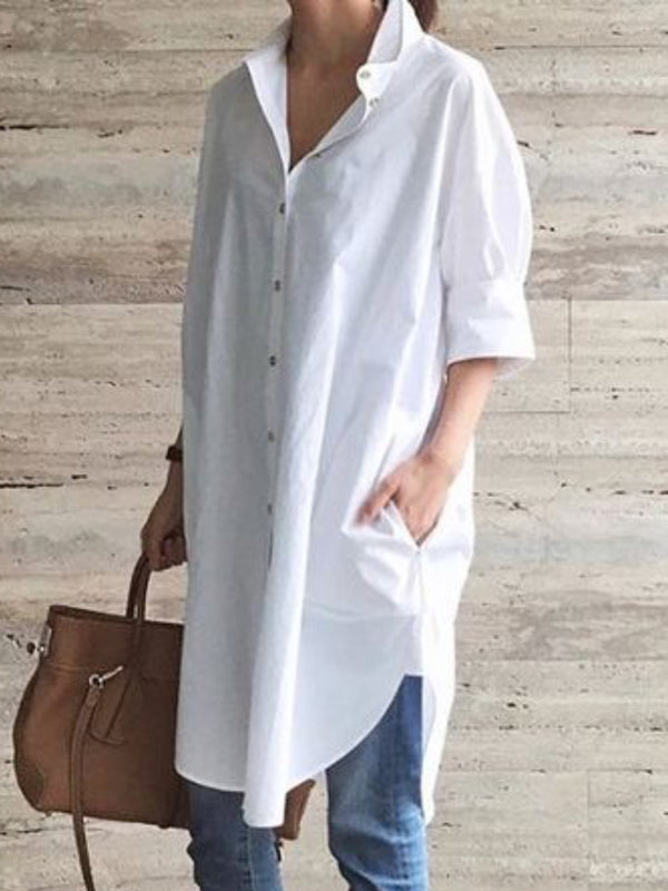 White Casual Shawl Collar Shirts & Tops