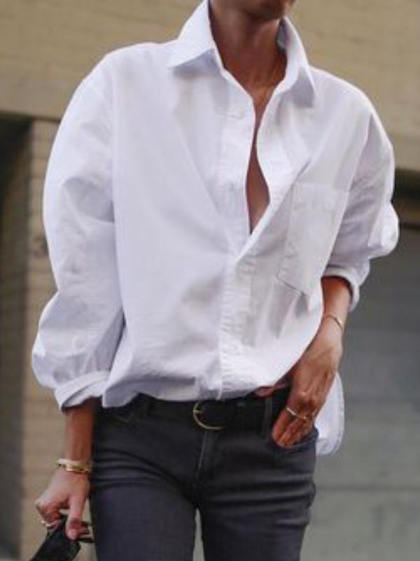 Plain Shawl Collar Casual Shirts & Tops