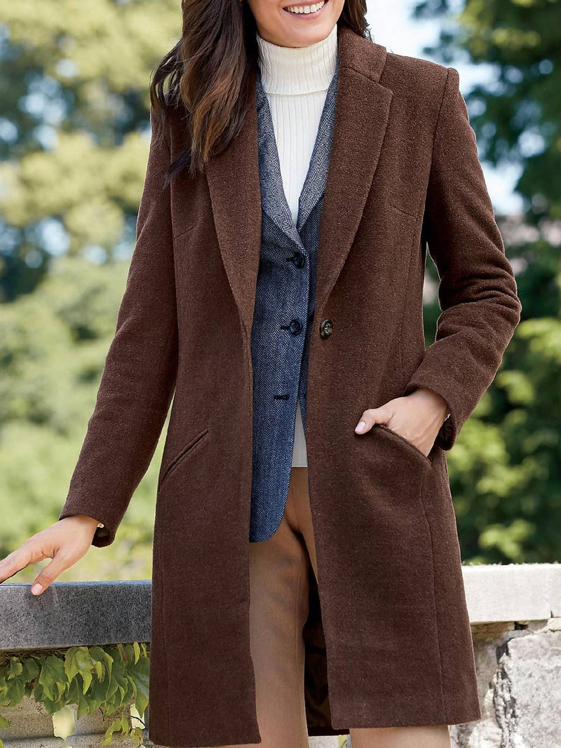 Cotton-Blend Solid Long Sleeve Shawl Collar Outerwear