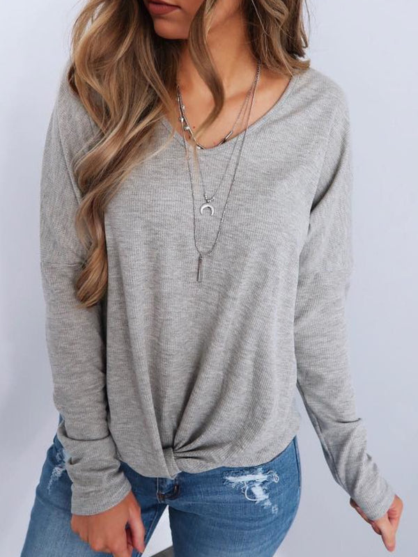 Plus Size Casual Solid Long Sleeve V Neck Tops