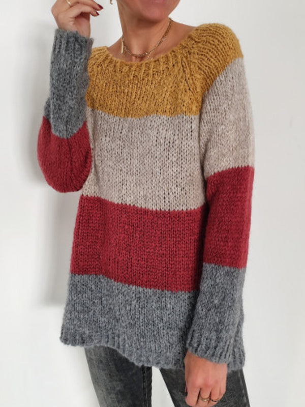 Casual Ombre/tie-Dye Color-Block Sweater