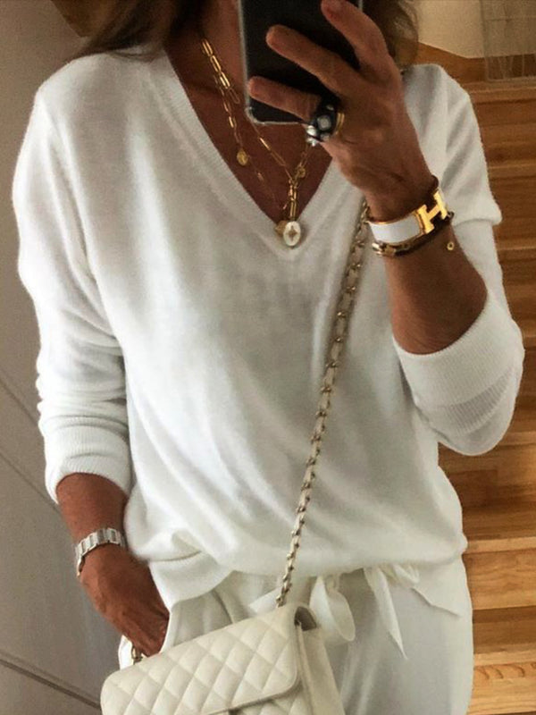 White Round Neck Plain Shirts & Tops