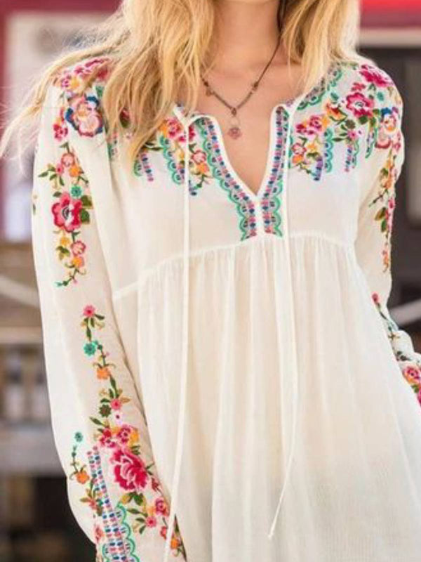 White Long Sleeve Boho Floral Shirts & Tops