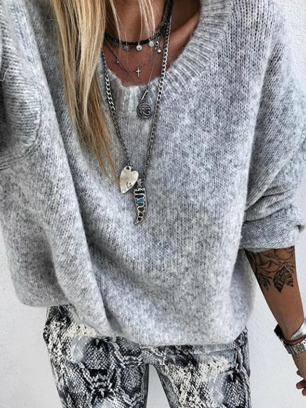 Casual Knitted Plain Sweater