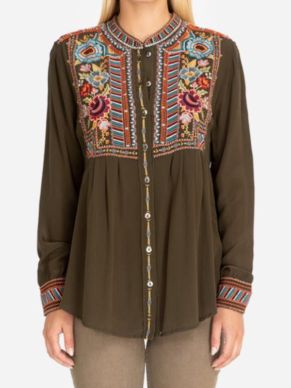 Casual Floral-Embroidered Shirts & Tops