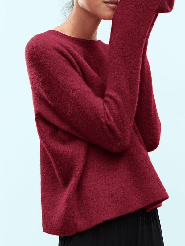Red Casual Knitted Round Neck Sweater