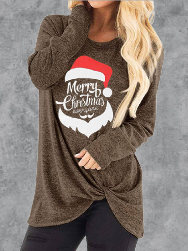 Long Sleeve Cotton-Blend Round Neck Tops