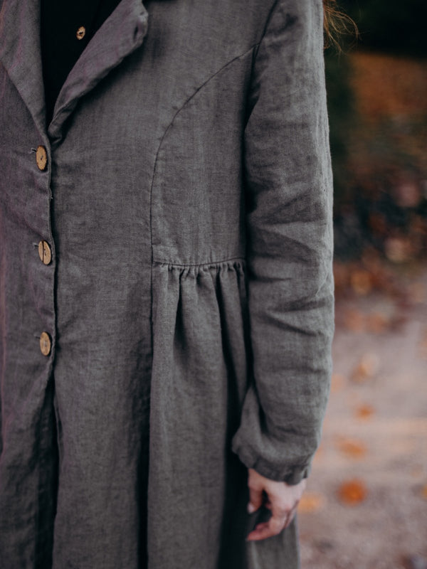 Deep Gray Solid Casual Shawl Collar Outerwear