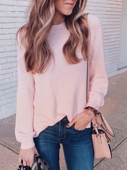 Casual Long Sleeve Crew Neck Knitted Solid Top