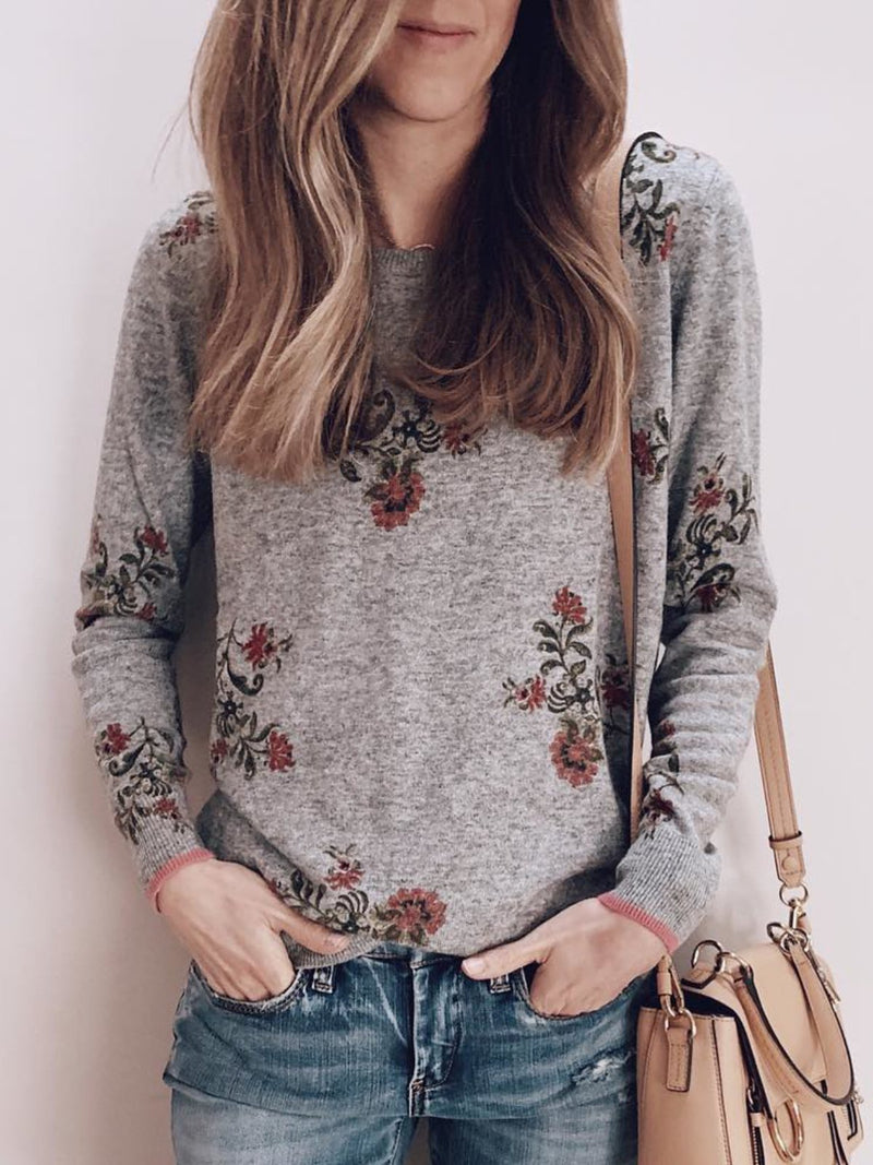 Plus Size Casual Crew Neck Long Sleeve  Floral Tops