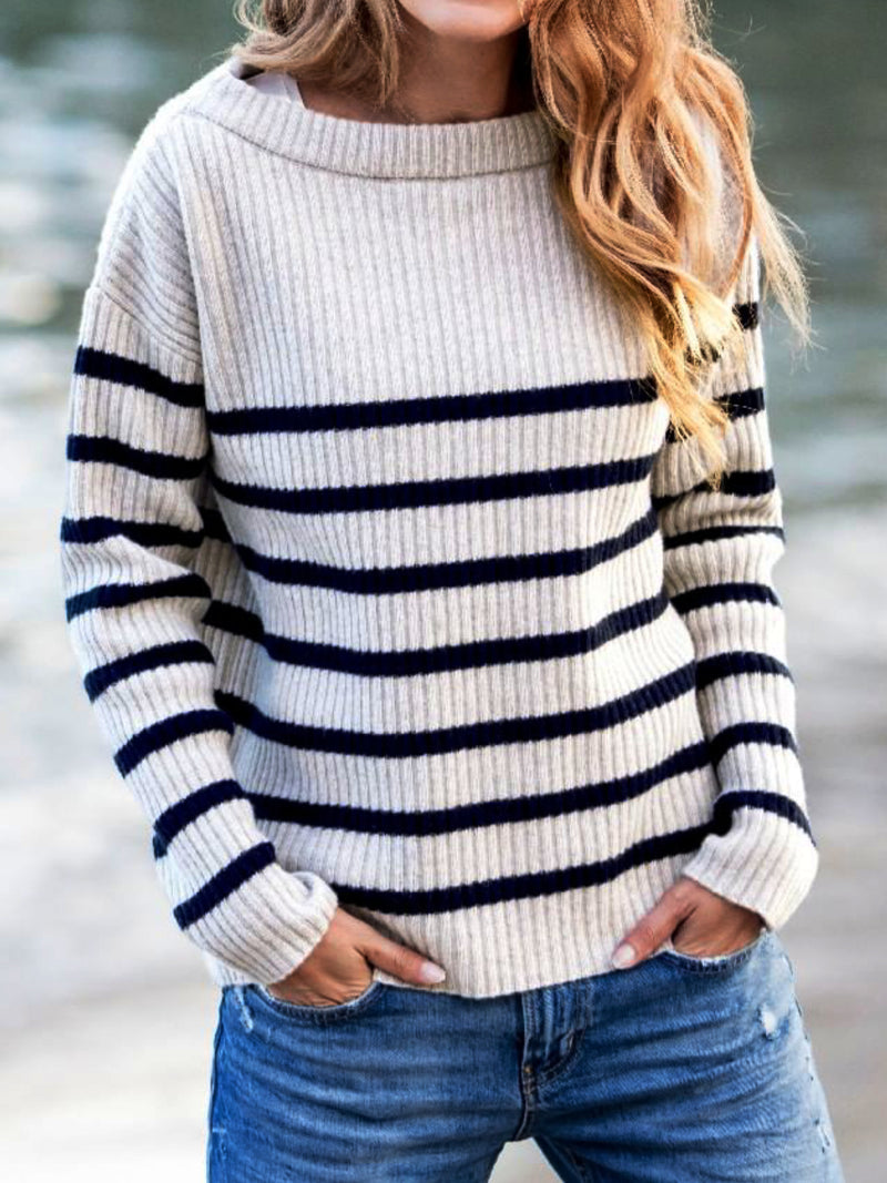 White Striped Knitted Round Neck Sweater