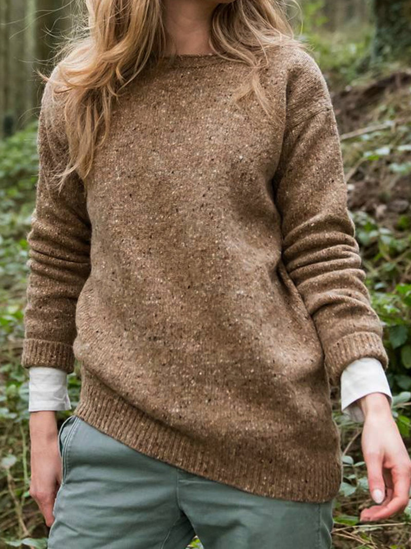 Casual Plain Knitted Crew Neck Sweater