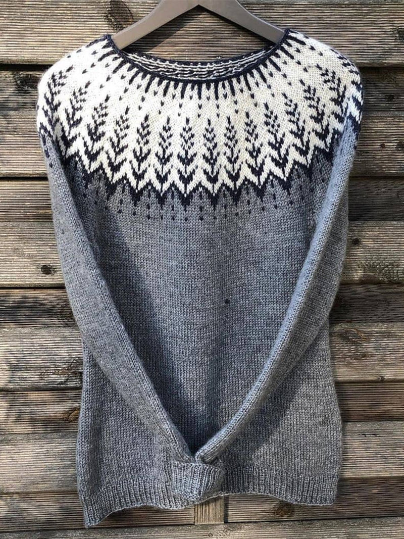 Gray Knitted Round Neck Vintage Sweater
