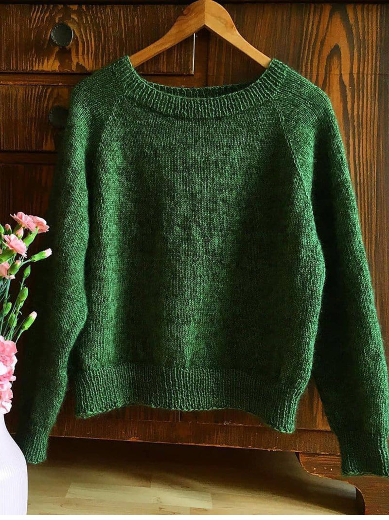 Casual Knitted Plain Long Sleeve Sweater