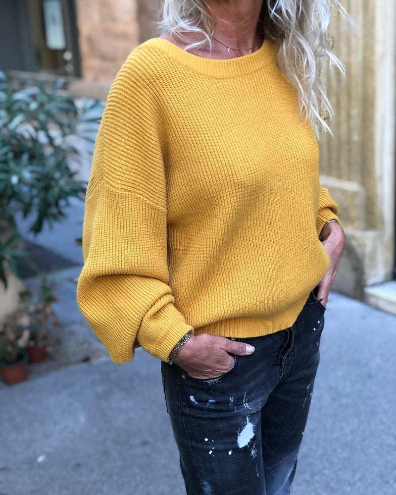 Plain Knitted Round Neck Casual Sweater