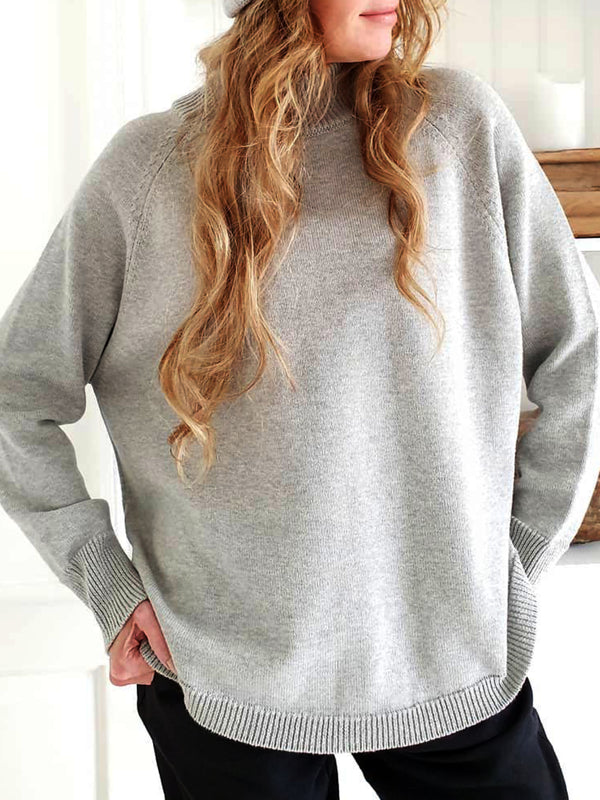 Gray Round Neck Plain Casual Sweater