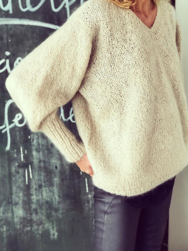 Beige V Neck Plain Knitted Long Sleeve Sweater