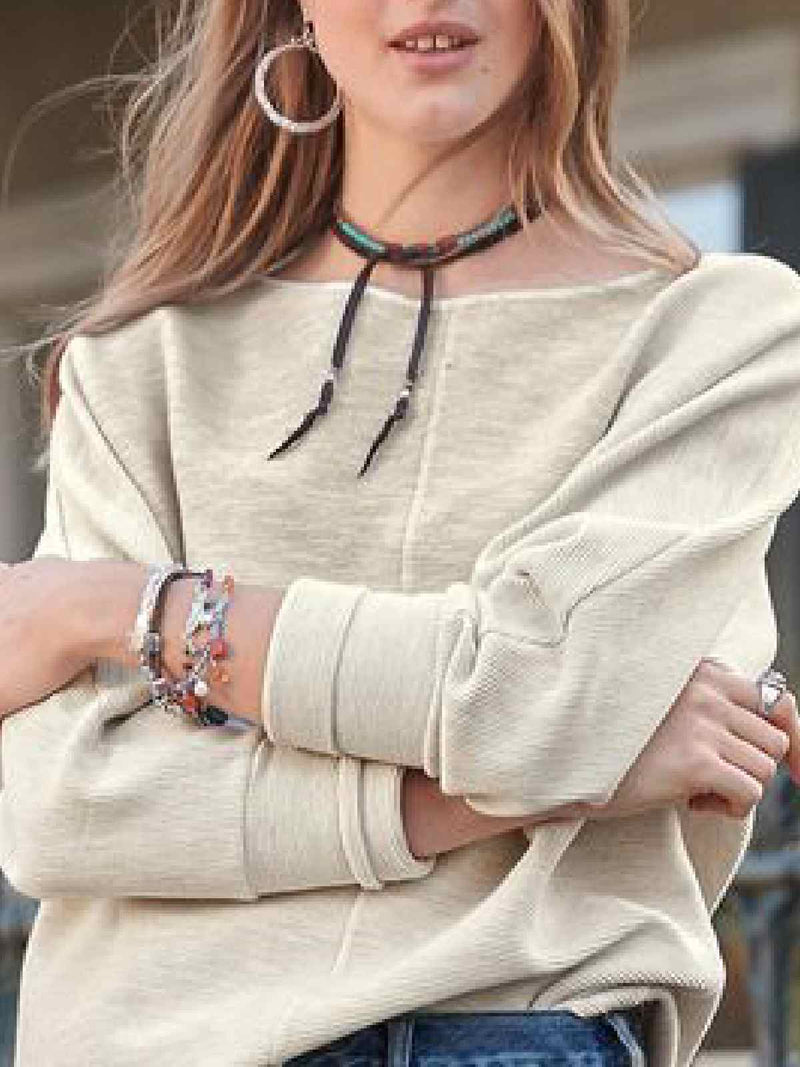 Round Neck Long Sleeve Tops