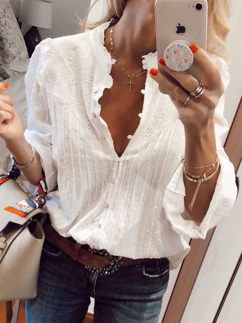 White Solid Guipure Lace Shirts & Tops
