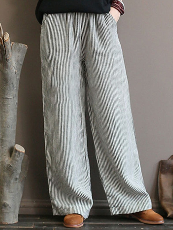 White Casual Striped Pants
