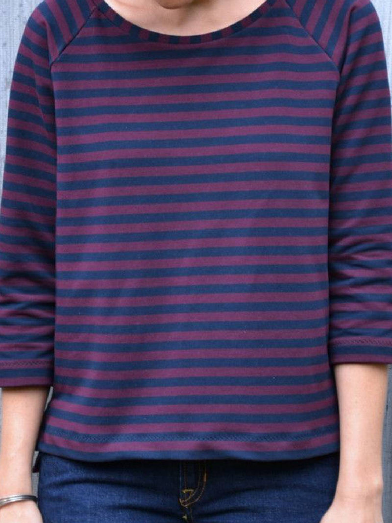 Round Neck Cotton-Blend Long Sleeve Tops