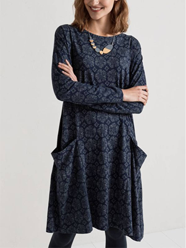 Women Casual Long Sleeve Floral Crew Neck Dresses